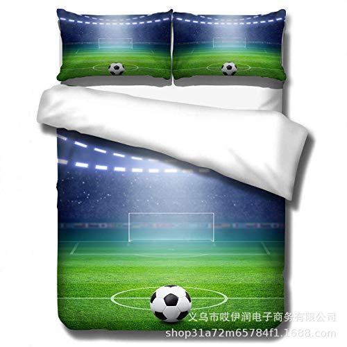 zdoujinsyuh BettwäSche Set,Bettwäschesatz 3D Fußball Druck Effekt Quilt Bettwäsche Set Neu Geeignet für Kinderzimmer, Schlafzimmer, Hotel Bettwäschesätze @ C_ (135 * 200cm) 2tlg -
