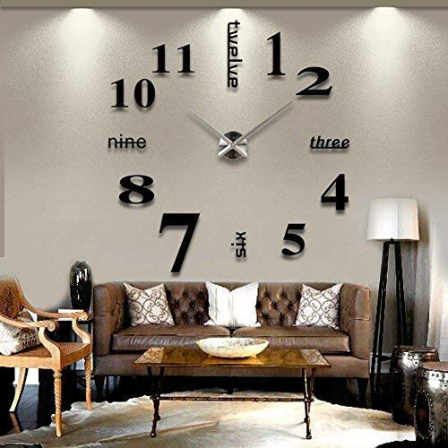Asvert Horloge Murale Geante 3D DIY Design Moderne Pendule Murale Décorations Numérique en Acrylique pour Salon (Noir-1)