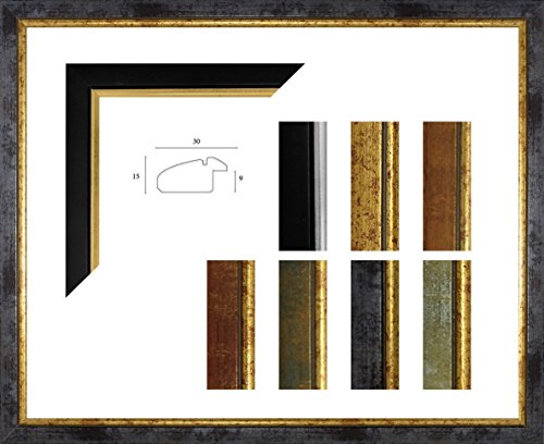 Paula Bilderrahmen 24 x 36 cm Massivholz Dezente Leicht Abgerundete Barrockleiste mit Goldkante 36x24 cm Farbauswahl in 18 Verschiedenen Farben, Hier Blau Gold mit Acrylglas Antireflex