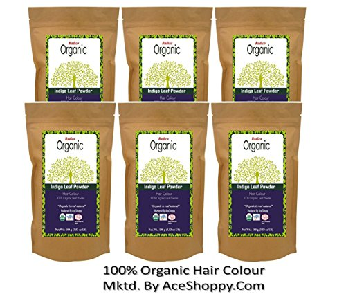 Radico 100% Organic Indigo Leaf Powder for Hair Coloring (Set of 6)  available at amazon for Rs.1100