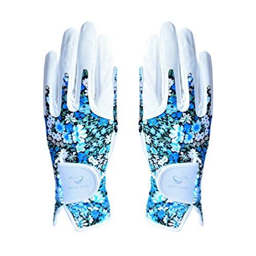 HUPLUE Golf Handschuhe für Frau Beide Hände Elastic Floral Übung Handschuhe 1Paar 20 Blau