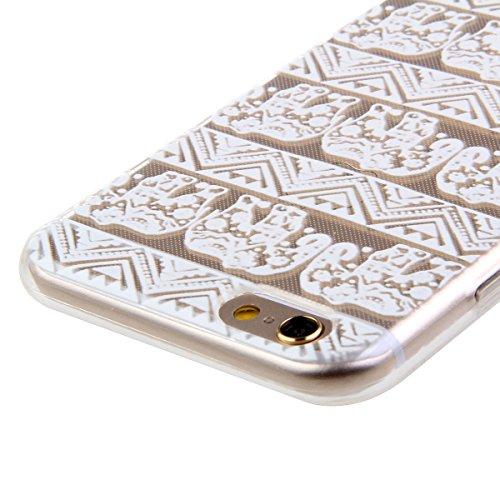 iPhone 6S Plus Hülle, iPhone 6 Plus Hülle, iPhone 6 Plus/ 6S Plus Silikon Crystal Case Hülle mit Malerei Muster, SainCat Weiche Transparent Silikon Schutzhülle Hülle Gel Bumper Soft TPU Case Backcase  Stammes- Elefant