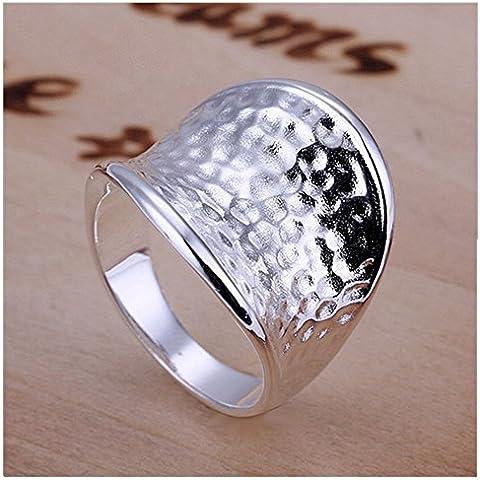 HMILYDYK Jewelry–Anillo para hombre–Bañado en Plata de ley 925Fashion Amplia Cóncavo martillado superficie