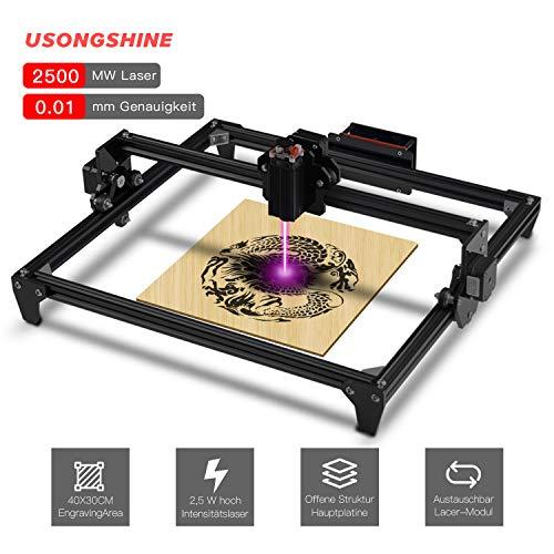 ToTem DIY CNC Graviermaschine Laserengraver Kits 440X480 mm 12 V USB Desktop Laser Engraver (Schwarz, 2500mw) -