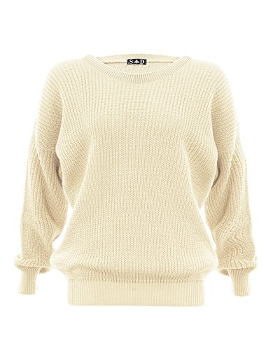 Mesdames, Femmes tricoté Baggy, Imprimé / Plaine Casual / Hiver Porter Jumper Tops Taille S / M, M / L Crème
