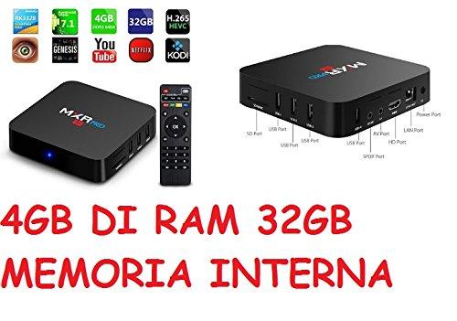 MXR-RPO 4K 3840x2160 4G+32G Android 7.1 TV BOX Boitier TV RK3328 Quad-Core 64bit Cortex-A53 HDMI 2.0a 4k@60Hz 3D Video Insere Antenne WIFI Bluetooth 4.1 Acceleration des Graphiques 3D Garantie 2 Ans