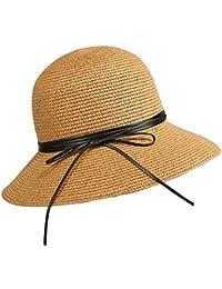 Cappello estivo in paglia da donna Cappello morbido di paglia traspirante  leggero da sole Protezione solare b9434afc2d92