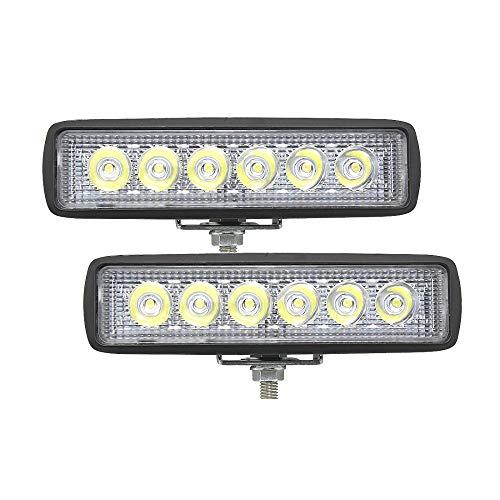 GHC LED Lights, 18W 12V 6 Arbeitslicht des Zoll-LED, Stangen-Scheinwerfer-Auto-LKW-Anhänger-nicht for den Straßenverkehr beleuchtet 4x4 4WD SUV ATV-Arbeitslampe 6000K, 2 Satz (Edition : SPot beam) -