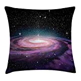 Deglogse Cushion Covers, Galaxy Throw Pillow Cushion Cover, Spiral Galaxy in Outer Space Andromeda Nebula Star Dust Universe Astronomy Print, Decorative Square Accent Pillow Case, Mauve Black