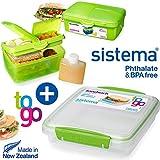 sistema - SET - sistema - Lunchbox Quaddie mit Trinkflasche + Sandwich To Go