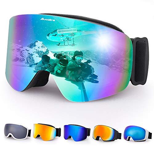 Avoalre Skibrille Damen Herren Snowboardbrille UV-Schutz rahmenlose Linse Ski-Schutzbrillen Verbesserte Belüftung für Motorrad Skifahren Skaten Wintersport(Grün) - Grün Frauen-ski-schutzbrillen