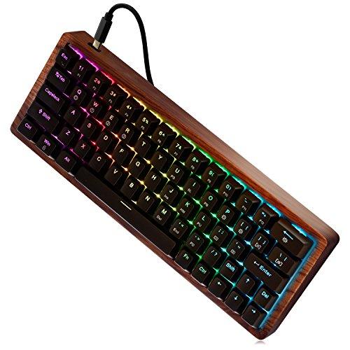 MAIDERN 60% Kompaktes -QWERTY- Hot Plugging Mechanische Tastatur 64 Tasten Farbkombinationen der Tastenkappen Holzkiste Custom Light RGB Kirschprofil-Tastenkappe - Cherry MX Blue Switches - Farbkombinationen