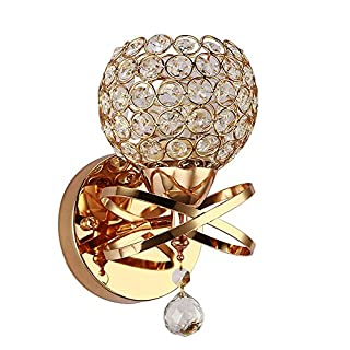 Annstory Wall Lamp, Modern Style Crystal Pendant Wall Lamp Bedroom Aisle Living Room Wall Light Holder E14 Socket, Bulb Not Included (Gold) [Energy Class A]