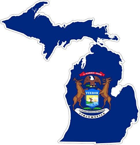 Akachafactory Selbstklebend Wandtattoo Sticker, Auto Vinyl Flagge Karte Michigan USA-Side (Karten Von Michigan)