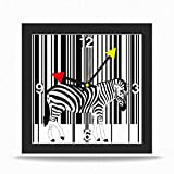 Ausgefallene Wanduhr Uhr Uhrenbox Design-Uhr Zebra schwarz