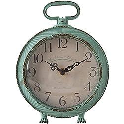Nikky Home reloj de mesa con asa en pata pies Vintage analógico de cuarzo diseño escritorio y estante para sala de estar cuarto de baño decoración Metal envejecido Blu