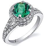Revoni majestätisches Gefühl 1.25 Karat Smaragd Ring in Sterling-Silber 925 Rhodium Politur