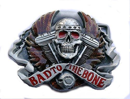 Bad To The Bone calavera motorista de Metal hebilla de cinturón