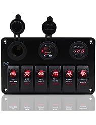 6Gang Panneau Interrupteur à bascule 12V-24V Dual USB prise de courant Voltmètre numérique Fxc pour voiture bateau marine–Rouge