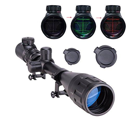 Pinty 6-24x50 AOEG Rot Grün Zielfernrohre Green & Red Luftgewehr Scope Mil Dot Rangefinder Sight Visor Taktische Scope mit Einstellbare Objektive Linse und Halterung für Jagd