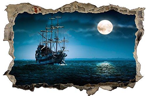 Preisvergleich Produktbild DesFoli Piratenschiff 3D Look Wandtattoo 70 x 115 cm Wanddurchbruch Wandbild Sticker Aufkleber D243