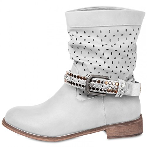 CASPAR - Bijou de botte et chaussure pour femme avec clous et strass - plusieurs coloris - STB002 argent métallique
