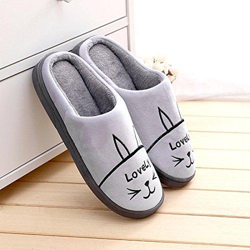 DogHaccd pantofole,Caldo inverno anti-slip di cotone femmina pantofole home home interni come mezzo di spessore e bel paio di pantofole di peluche Grigio1
