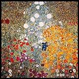 Bild mit Rahmen Gustav Klimt - Bauerngarten - Digitaldruck - Alimunium schwarz glänzend, 50 x 50cm - Premiumqualität - Klassische Moderne, dekorativ, Jugendstil, Pointillismus, Blumen, Blumenwiese.. - MADE IN GERMANY - ART-GALERIE-SHOPde