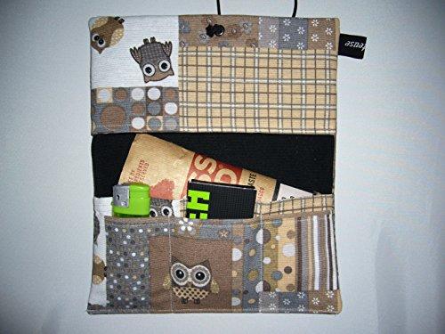 Büroteuse Tabaktasche / Drehertasche im braunem Eulen-Design, jede Tasche ein Unikat! Eulen braun