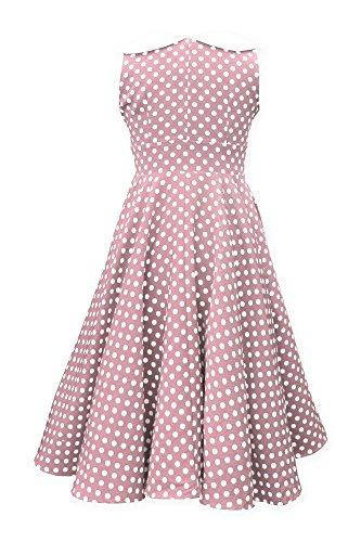'Clio' 50's Polka-Dots Kleid mit besetztem Ausschnitt - 2