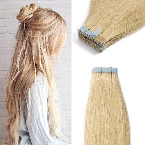Extension adesive capelli veri biadesivo 100g 40 ciocche biadesive remy human hair naturali tape hair extensions bionde (40cm #24 biondo naturale)