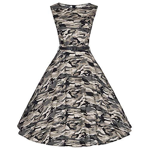 Ärmellos Camouflage (ZSRHH-Kleid Frauenkleid Ärmelloses Damenkleid mit Rundhalsausschnitt Camouflage Retro Swing Dress (Farbe : Grau, Size : L))