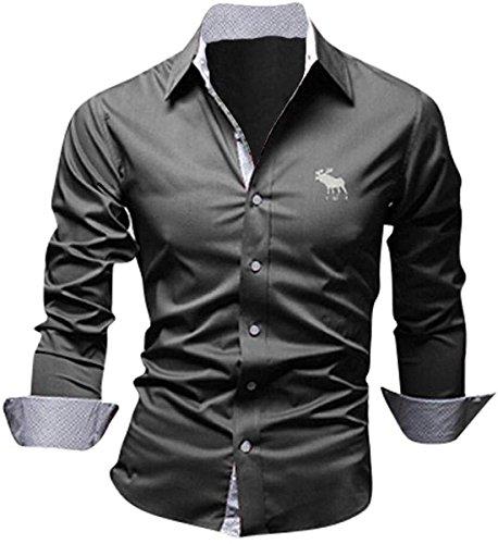 jeansian Herren Freizeit Hemden Shirt Tops Mode Langarmlig Men's Casual Dress Slim Fit Z029 8558_Gray