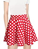 bridesmay Damen Mini Rock Basic Solid vielseitige dehnbaren informell Minikleid Retro Sexy Rock Faltenrock Red White Dot S