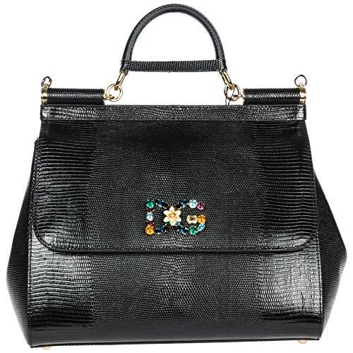 Dolce & Gabbana Leder Handtasche Damen Tasche Bag sicily Schwarz