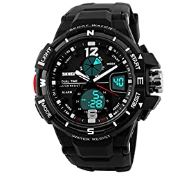 Skmei S-Shock Analogue-Digital Black Dial Men's Watch - SKM-AD1148-Black