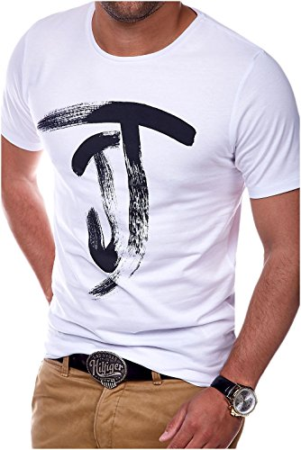 JACK & JONES Herren T-Shirt Kurzarmshirt Top Print Shirt Casual Basic O-Neck (3XL, White)