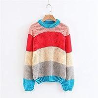 Señoras Suéter Tejido A Rayas Cuello Suéter Suelto,Pink,Código Uniforme
