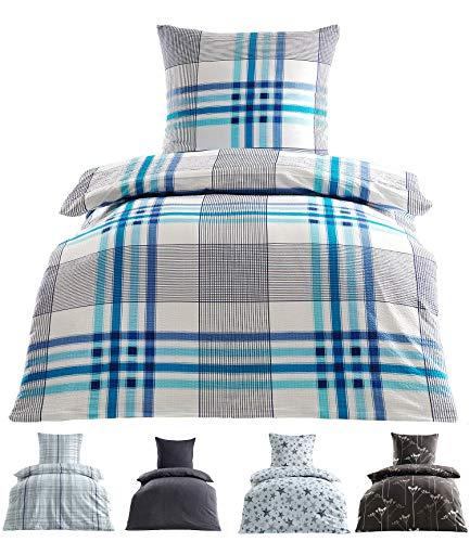 Seersucker Bettwäsche Baumwolle bügelfrei mit Reißverschluss in 2 Größen 155x220 cm 80x80 cm Victor Blau