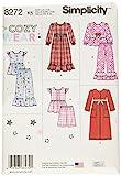 Simplicity Muster 8272K5Kind 's und Girl 's Nachtwäsche und Bademantel Schnittmuster, weiß, Größen 7–8–10–12–14
