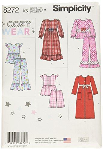 aa2bdd380 Simplicity Pattern 8272 K5 niño y de la niña del patrón de Costura para  Pijamas y Albornoz, Blanco, tamaños 7 – 8 – 10 – 12 – 14