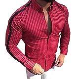 UJUNAOR Männer Langarm Hemd Baumwollmischung Gestreift Knopf Top Bluse Herbst Winter(Rot,CN L)
