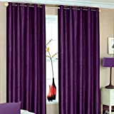 Faux Silk Eyelet Curtains For Living Room Bedroom 66x54 inches Drop Plain Pair Of Ready Made Curtains Fully Lined Ring Top With Matching Tie Back , Aubergine