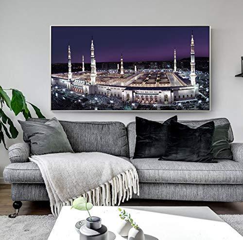DAQIANSHIJIE Moderne Islam Wandkunst Leinwand Stadt Landschaft Von Mekka Heiligen Land Wand Dekorative Bilder Kunst Malerei Für Hauptwanddekor 60X120 cm Ohne Rahmen