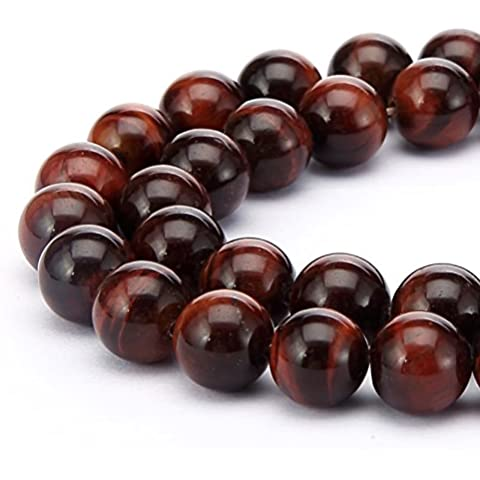BRCbeads Gorgeous Natural Red Tiger Eye Gemstone Round Loose Beads 8mm Approxi 15.5 inch 45pcs 1 Strand per Bag for Jewelry Making