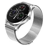 BURFLY Milan Strap Smartwatch, K88H Smart Watch IOS Android Pulsmesser Uhr 1.22 Zoll IPS Runde Bildschirm (Silber)