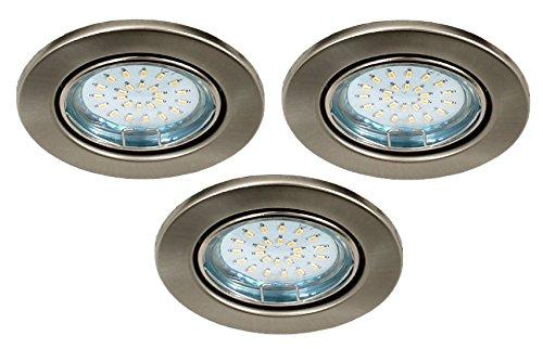 Trango 3er Set LED Einbaustrahler Einbauleuchten Deckenstrahler Edelstahl-Look inkl. 3x GU10 LED Leuchtmittel schwenkbar direkt 230V TG6729-032B