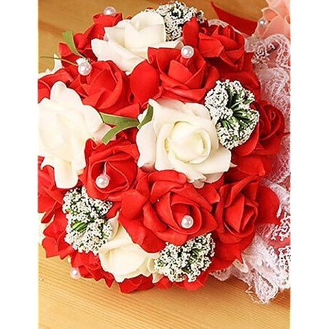 flores artificiales, un ramo de flores de 23 pe rosas de simulación ramo de la boda de la novia de la boda que sostienen, 4 colores , purple