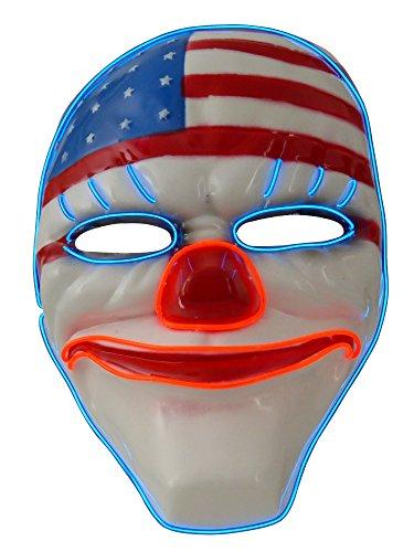 grau.zone Party Leuchtmaske American Ghost, Leuchtende und Blinkende Halloween Partymaske (Dishonored Kostüm Party)