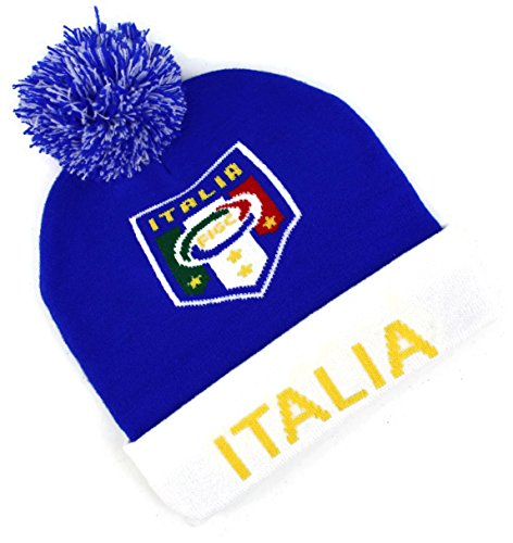 High End Hüte World Soccer/Fußball Teams Hat Collection Double Layered Skull Beanie Cap, Italia FC - Stricken Watch Cap